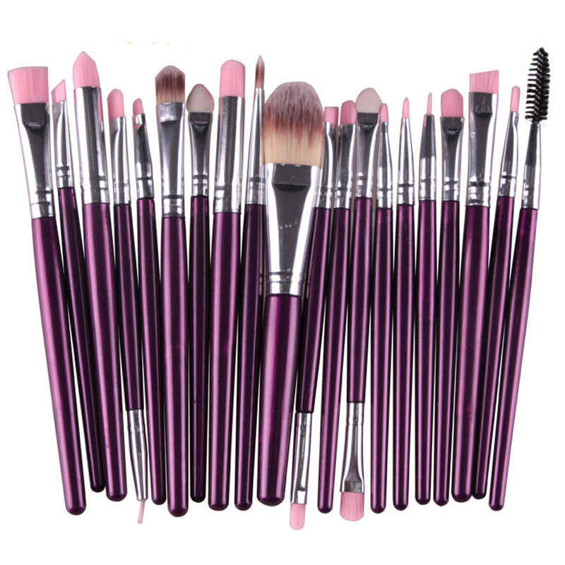 20 pcs/set Colorful Professional Makeup Brushes Kits Eye Shadow Foundation Eyebrow Lip Brush for Women Free Shipping new eyebrow makeup kits