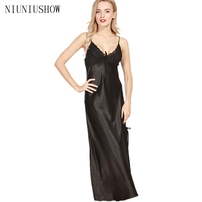 Sexy New Summer Solid Spaghetti Sleepshirts Womens Lady Lingerie Satin Silk V-Neck Night Dress Nightgown Long Sleepwear M L XL