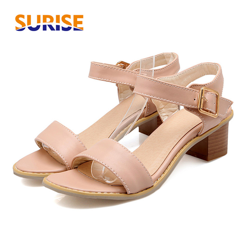 Big Size Woman Sandals 5cm Low Medium Thick Block Heel Open Toe PU Leather Causal Party Office Summer Ladies Buckle Strap Shoes