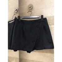 Диагональные пуговицы украшения высокого качества женские шелковые + шерстяные тканевые Шорты повседневные шорты