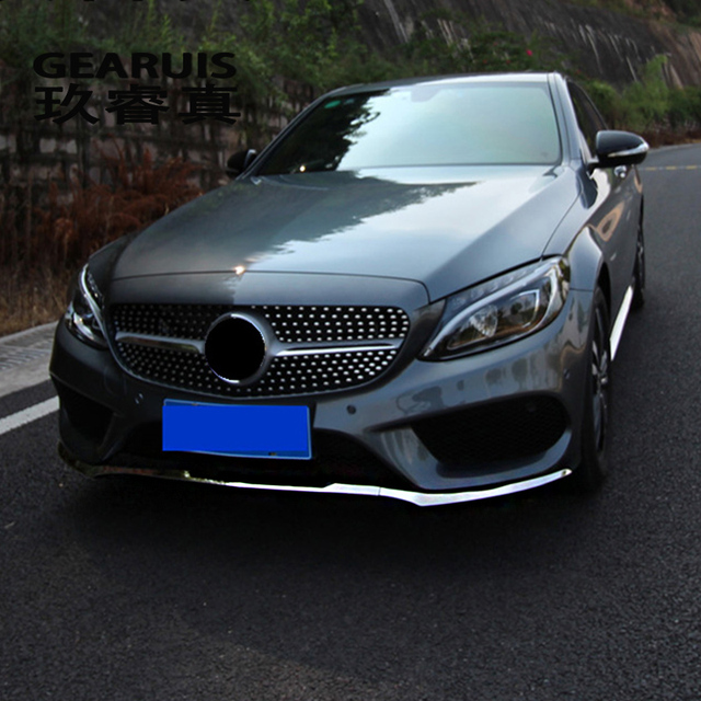 For Mercedes Benz C Class W205 Car styling Front Bumper Lip Lower ...