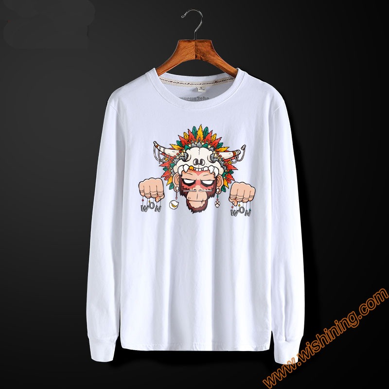 Fashion Monkey Printing T Shirt Unisex Long Sleeve Tees Cotton Casual High Quality White S