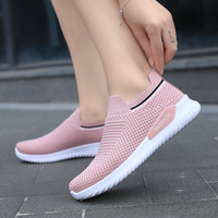 Women Running Shoes Pink Sock Shoes Lightweight Soft Weave Summer Autumn Trend Sneakers Outdoor Sport Gym Shoes zapatos de mujer