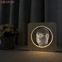 3D Illusion Night Light Buddha Lamp 7 Color LED Decoration Lamp for Bedroom Sleep Lights