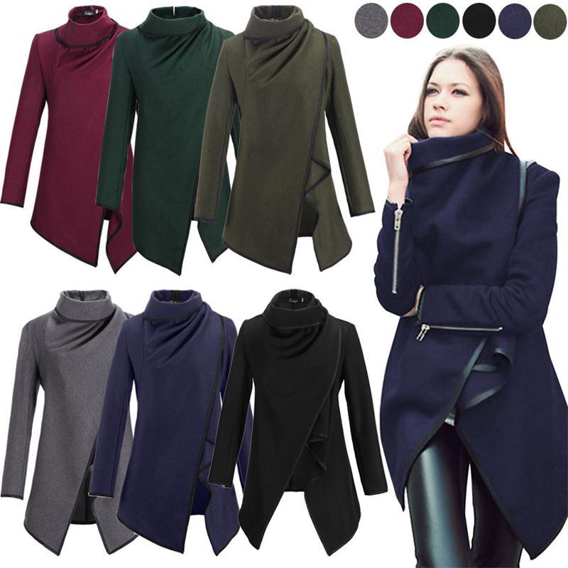 Casaco Feminino 2015 New Fashion Women Asymmetric Trench Winter Woolen Overcoat  Coat 6 Colors
