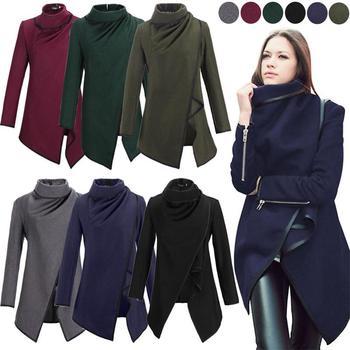 Casaco Feminino 2015 New Fashion Women Asymmetric Trench Winter Woolen Overcoat Coat 5 Colors Free Shipping