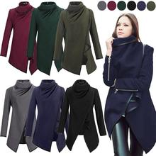 Casaco Feminino 2015 nowy kobiety moda asymetryczne wykop kobiety zimowe wełniane płaszcz wełniany płaszcz 5 kolory darmowa wysyłka tanie tanio Skręcić w dół kołnierz Asymetryczna długość W Facebook Pełna Poliester Bawełna 78932 Zamki Przycisk Flanela zipper
