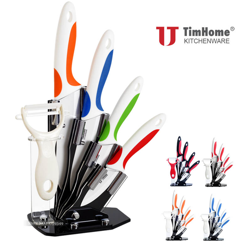 Timhome Brand Ceramic Kitchen Knife 6pcs Set With Stand/holder Paring Fruit Knife