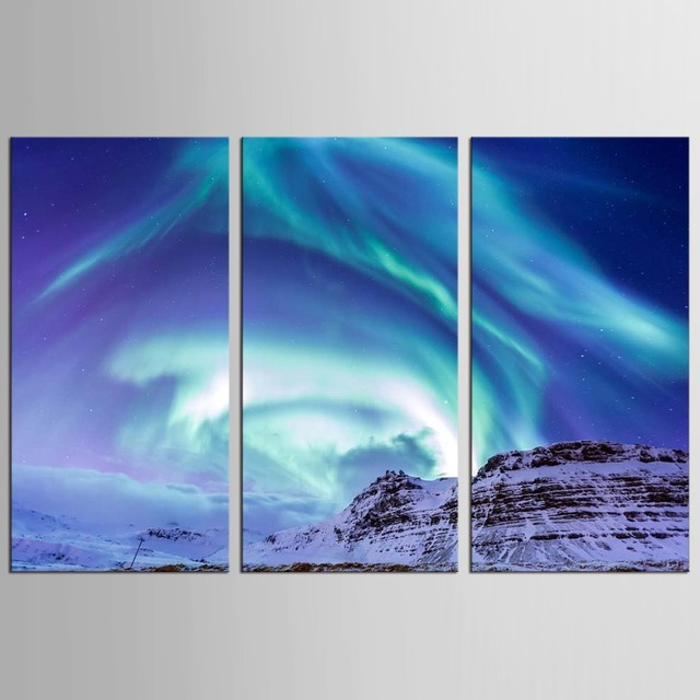 3 Pcs/Set Aurora Borealis Northern Lights Canvas Oil Painting Modern Prints  On Canvas Wall