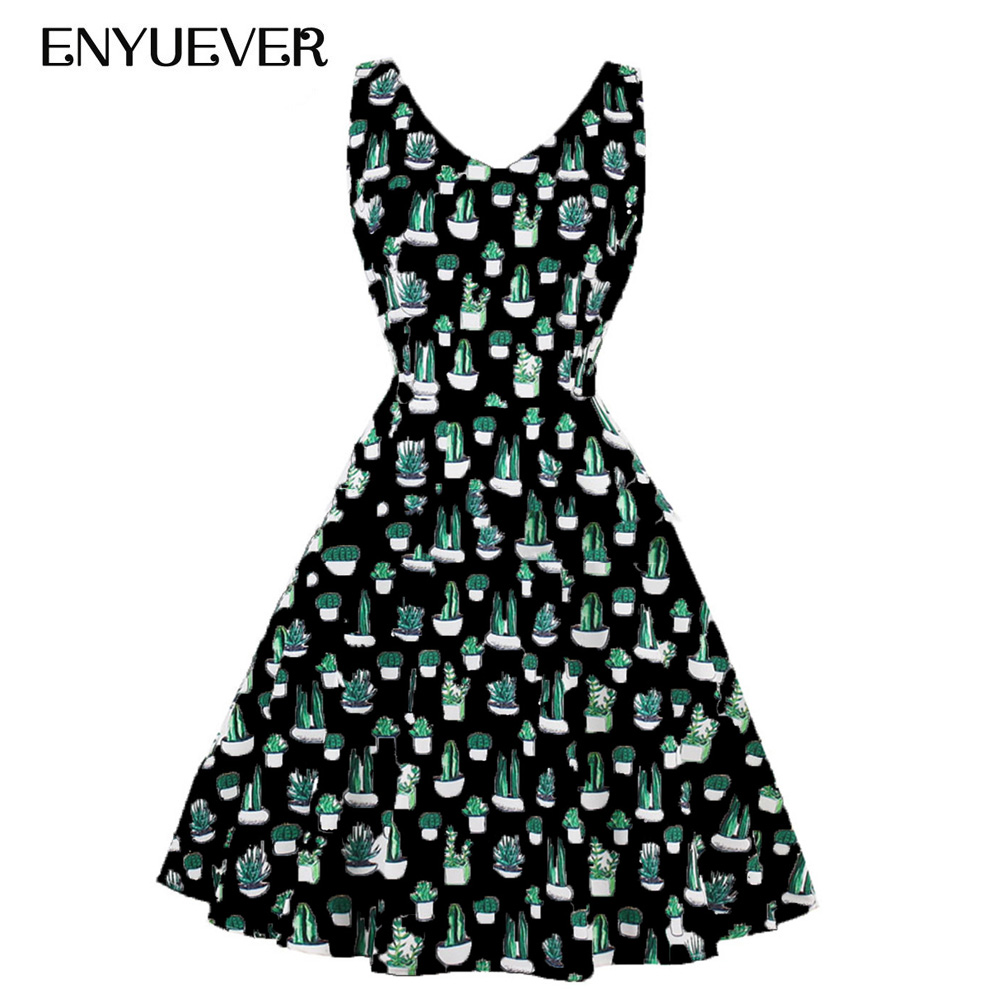 US $24.9 20% OFF|Enyuever Cactus Print Summer Dress Plus Size Women Casual  Clothing V Neck Robe Pin Up Vestidos Vintage Rockabilly Dress Sundress-in  ...