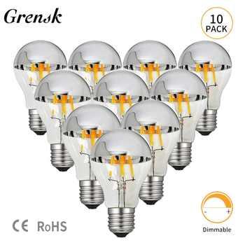 Grensk Dimmable Led Edison Bulb E27 8W 220V Bulbs Filaments Led E26 110V Warm 2700K A19 Classic Crown Sliver Vintage Light Lamp - Category 🛒 All Category