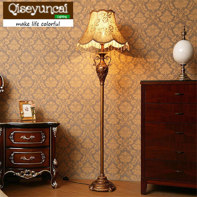 Qiseyuncai European living room floor lamp creative country retro vertical table lamp simple study bedroom remote bedside lamp french garden vertical floor lamp modern ceramic crystal lamp hotel room bedroom floor lamps dining lamp simple bedside lights