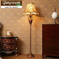 Qiseyuncai European living room floor lamp creative country retro vertical table lamp simple study bedroom remote bedside lamp