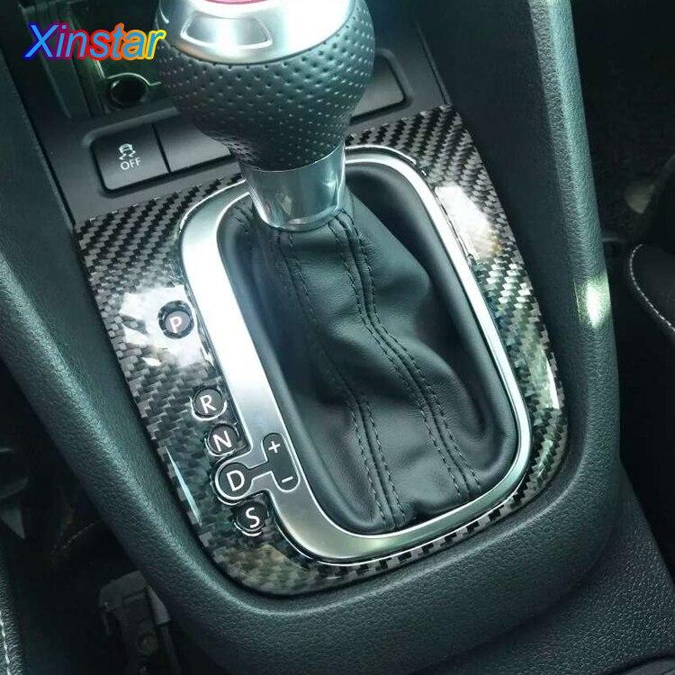 Carbon fiber car automobile gear knob decoration sticker for Volkswagen Golf 6 R Scirocco left and