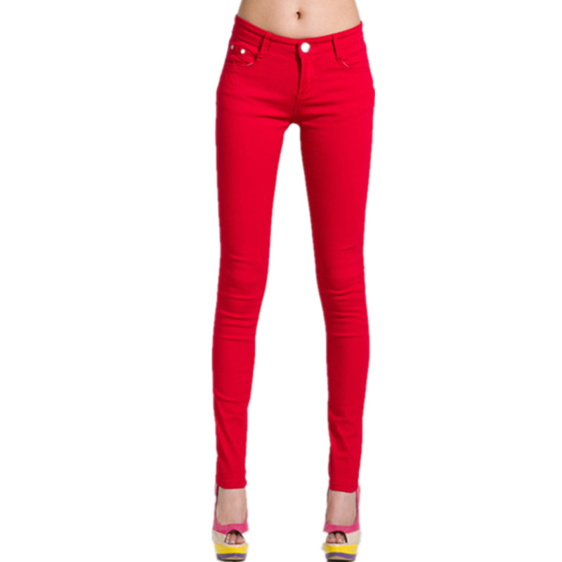 2017 New Women's Fashion Casual Solid Color Skinny Pants / Women Stretch Cotton Stovepipe Pencil Jeans Pants