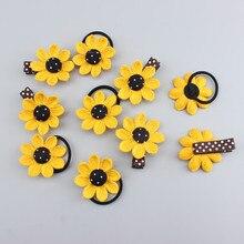 AKWZMLY 4Pcs Girls Sun Flower Elastic Hair Bands & Clip Dots Headbands Ribbon Cloth Yellow Children Kids Accessories