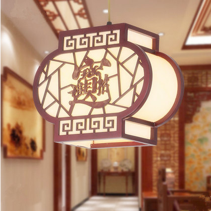 Chinese handmade red wood art Pendant Lights Carved frame white parchment shade E27 LED lamp for stairs&cafe&pavilion&cafe MF025