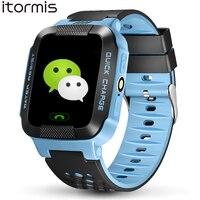 ITORMIS Y21 Enfants Bébé Smart Montre Téléphone Mobile Enfant Sécurité GPS Location Finder Tracker Torche SOS PK Q100 Q750 pour iOS Android