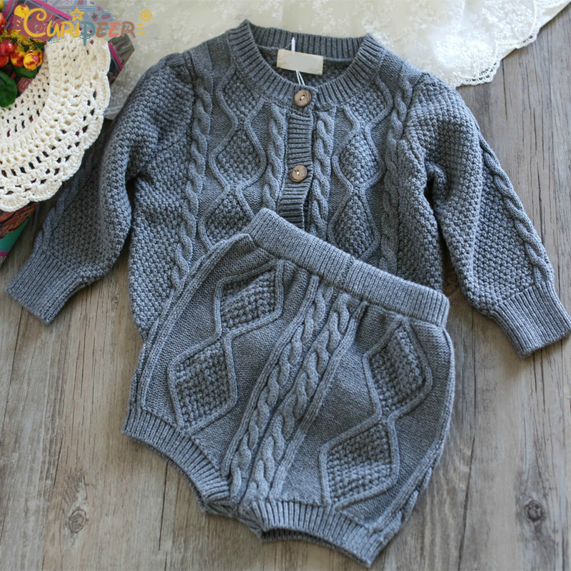 Girls Clothing Sets Pure Cotton Knit Suit Long Sleeved Jacket Shorts Two Pieces Girls Clothes Girls Cashmere Clothing Sets
