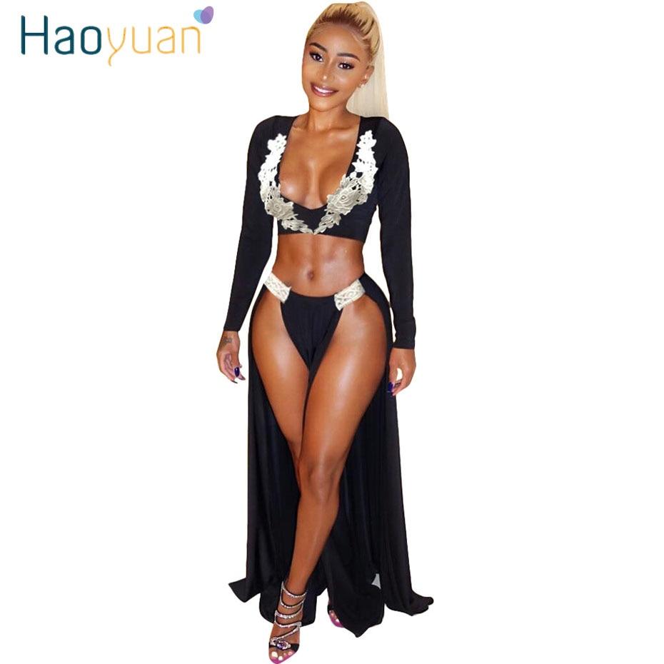 HAOYUAN White Flower Embroidery Two Piece Set Sexy Dress Women Black Deep V-Neck Long Sleeve Party Dresses High Split Maxi Dress