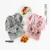 Infantil Toddler Çocuk Bebek Kız Casual Tops Tavşan T Shirt Mini Etekler Tutu Elbise 2 Adet Set Parti Uzun Kollu Sonbahar Suit