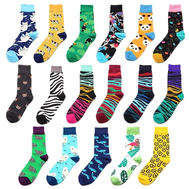 PEONFLY Men   Socks   Funny Cute Cartoon Flamingo Cat Tiger Panda Sheep Whale Stripes Harajuku Male Happy Hip Hop Skate Cotton   Socks