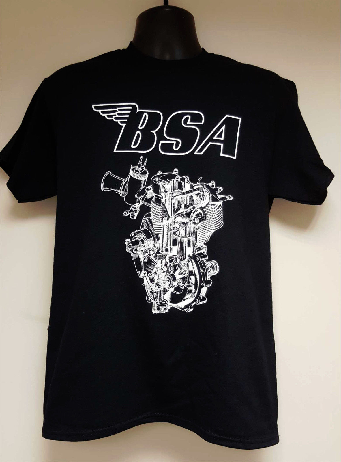 MEN'S OFFICIAL LICENSED MOTORBIKE T-<font><b>SHIRT</b></font> -<font><b>BSA</b></font> ENGINE DESIGN Cartoon t <font><b>shirt</b></font> men Unisex New Fashion tshirt Loose Size top ajax image