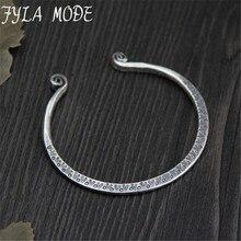 Fyla Mode S999 Sterling Silver Bracelets Monkey Straitjacket Hand Carved Bangles Opening Adjustable Design Fine Jewelry