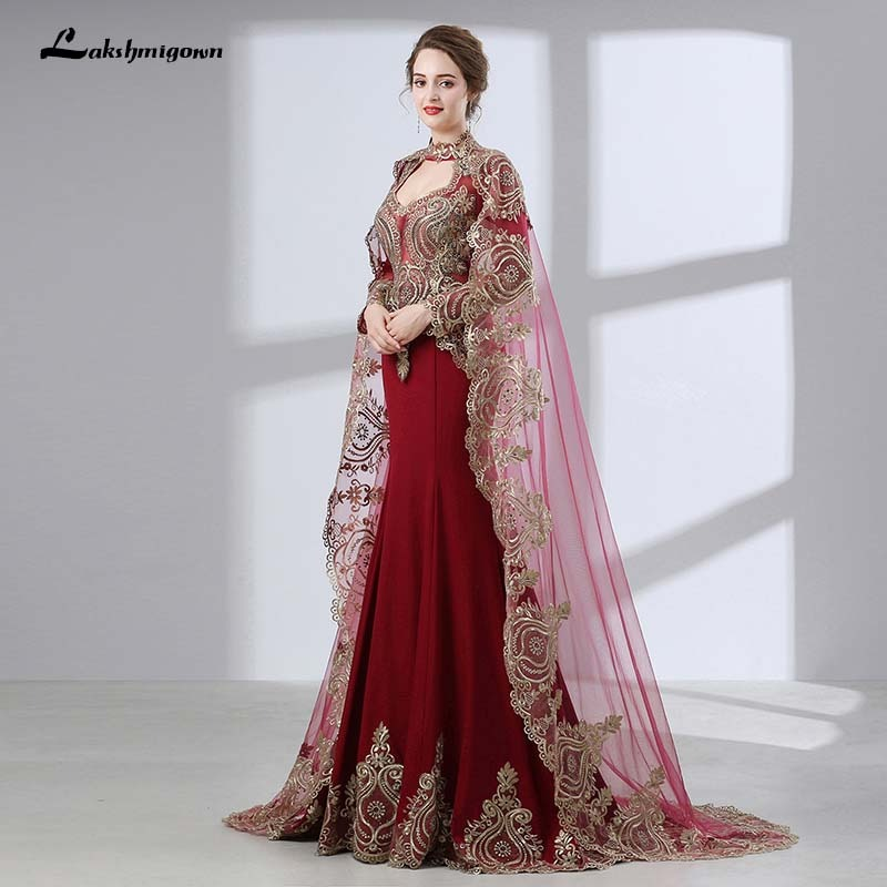Chic Chiffon Long Prom Gowns With Cloak Dubai Arabic Formal Party Dress Appliques Indian Pink Prom Dresses India Clothing Women Weddings & Events