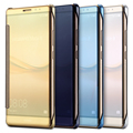 For Huawei Mate 8 Hybrid Leather +Hard Plastic Flip Plating Case For Huawei Ascend Mate 8 Luxury Clear View Display Mirror Cover