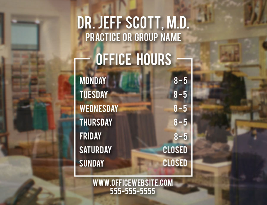 Custom Name Doctor Office Hours Sign Vinyl Decal Simplistic Operation Time Window Glass Door Sticker Waterproof BH15