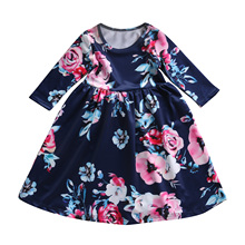 Baby Girl Floral Dress Kid Party Wedding Pageant Formal Long Sleeve Summer Prom Princess Tutu Dresses Girls