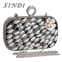 New ladies clutch bags luxury pearl flower evening bag Small Purse Finger Ring Diamonds Beaded Design Wedding Party Bags women