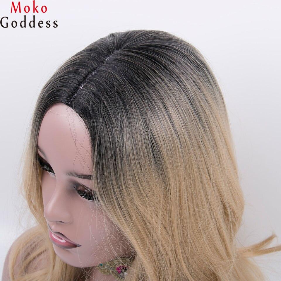 Mokogoddess 20 длинные светлые парик с выделяет коричневый Волнистые парик Искусственные парики для женщин