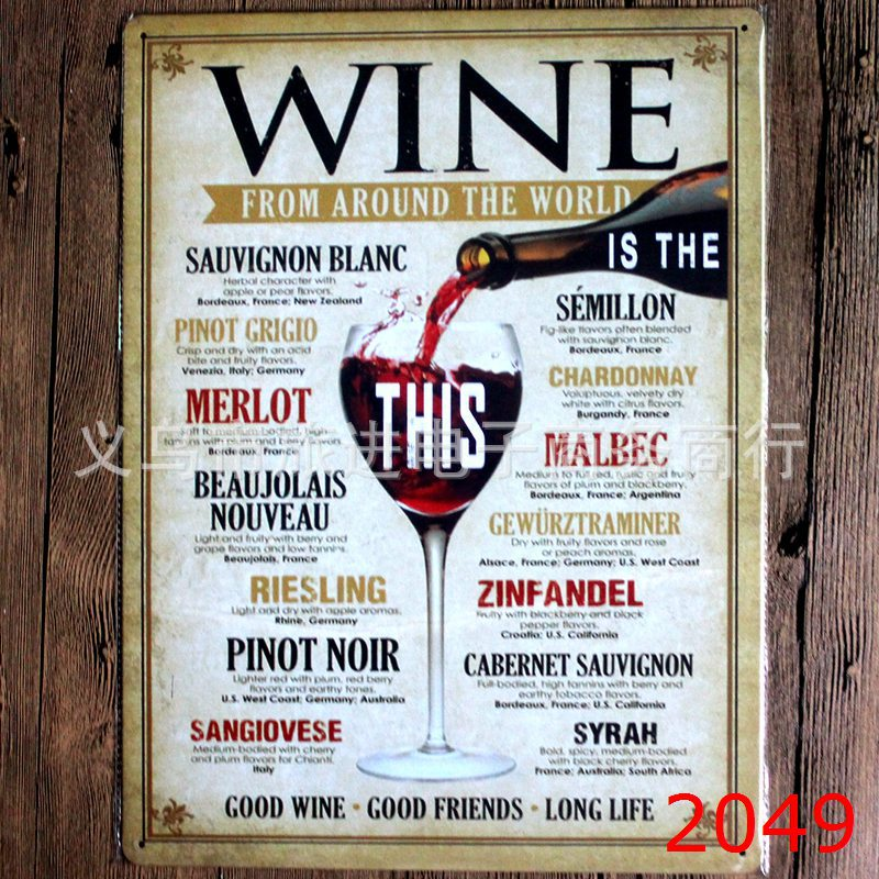 WINE FROM AROUND THE WORLD large vintage license plate Metal signs home decor Office Restaurant Bar Metal Painting art 40x30 CM