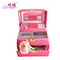 GUAN YA  High grade leather jewelry box  Three layer Necklace Jewelry Box Ring Earring Box 24.5*16*16cm 5 colors