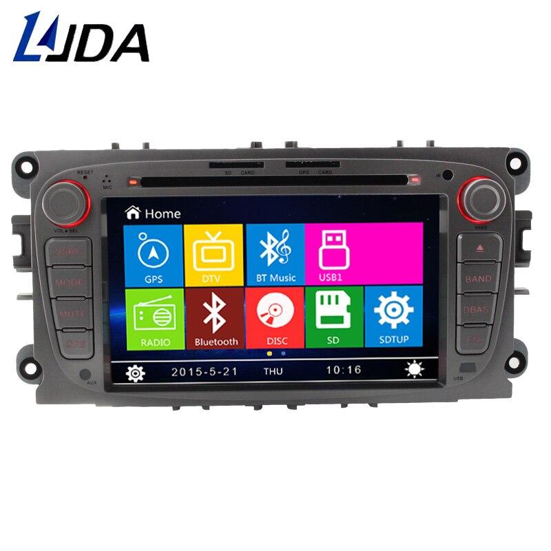 LJDA 2 din 7 pouces lecteur DVD de voiture pour Ford Mondeo Focus s-max c-max GPS Navigation voiture multimédia écran tactile carte d'affichage automatique