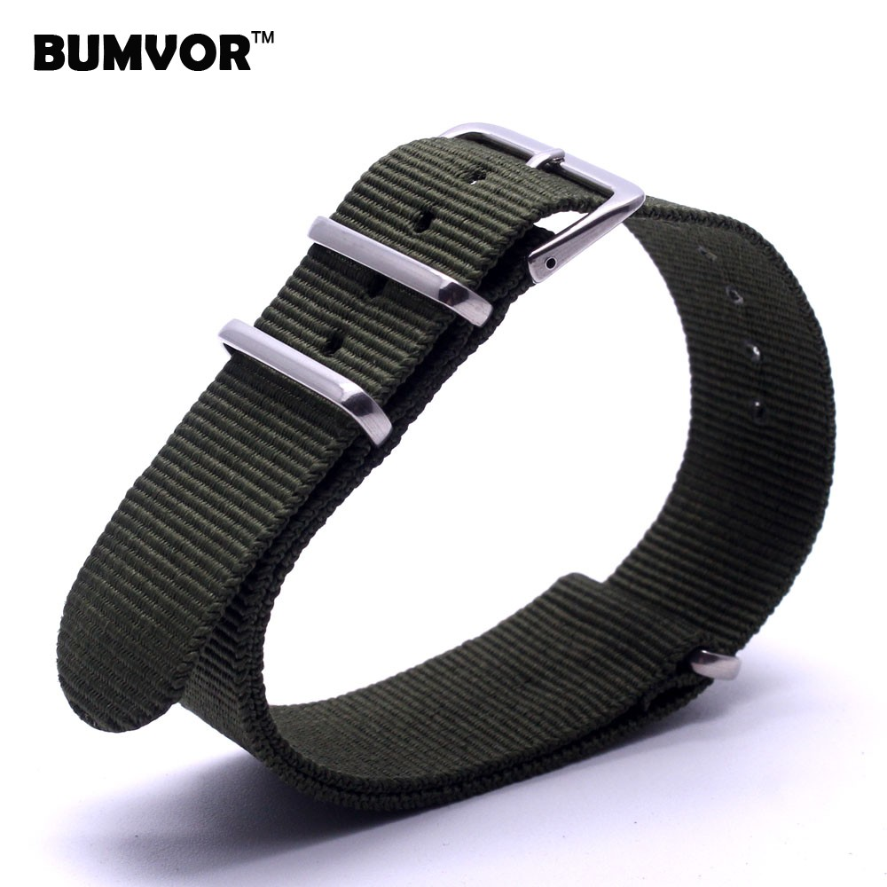 Retro Classic Watch 18 mm bracelet Army Green Military nato fabric Woven Nylon watchband Strap Band Buckle belt 18mm