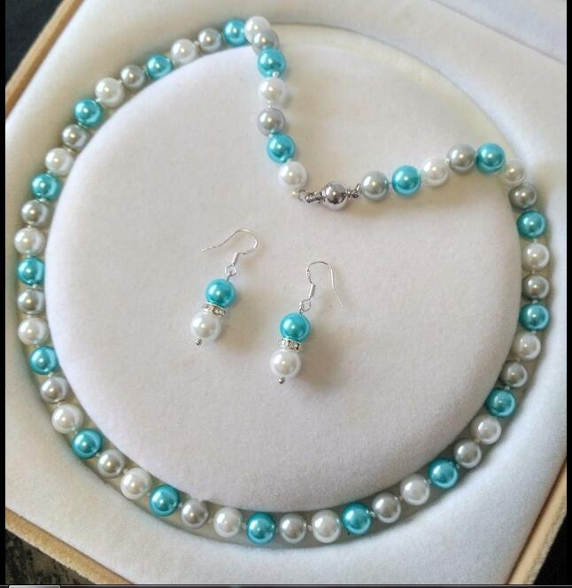 Women Jewelry Set 8mm round bead white blue gray mixed real natural south sea shell pearl necklace dangle hook earring