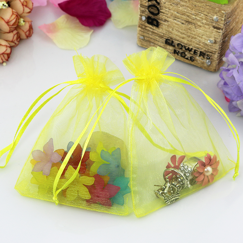 500pcs/lot Organza Bags Yellow 11x16cm Wedding Jewelry Gift bag Transparent Organza Drawstring Rectangle Bags-in Jewelry Packaging & Display from Jewelry & Accessories    1