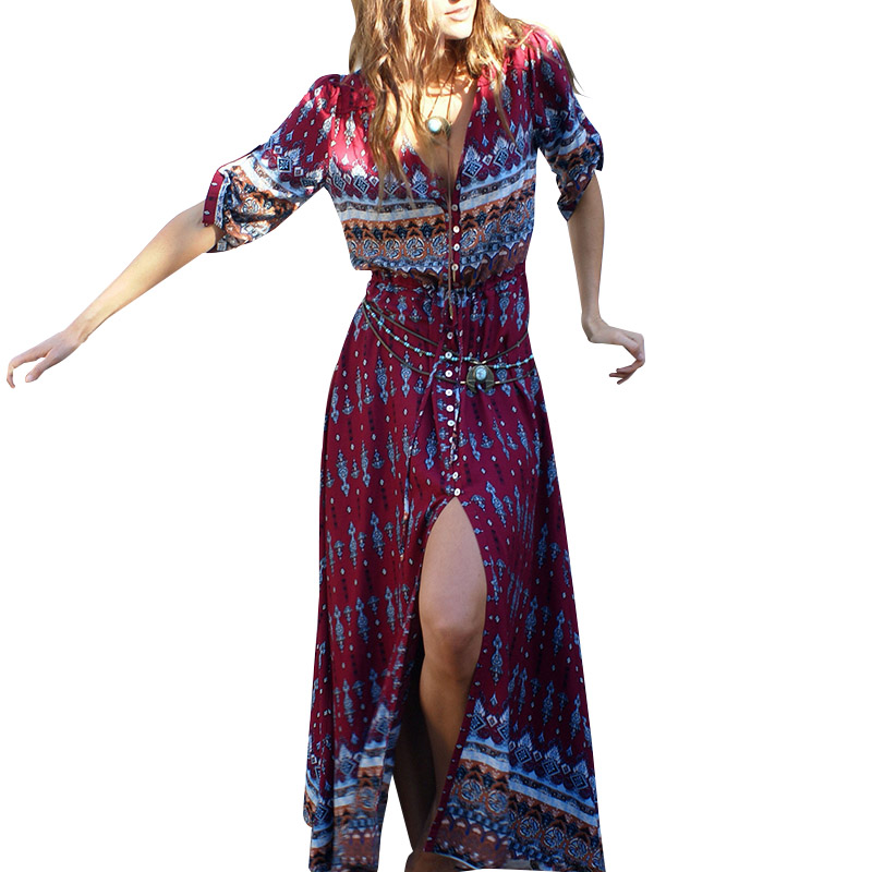 Women Bohemian Printing Maxi Long Dress Floral Print Retro Hippie Vestidos Chic Brand Clothing Boho Long Dress