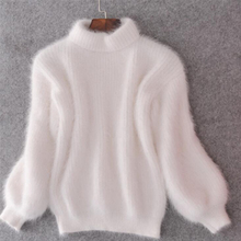 Women Winter Thick Warm Turtleneck Sweater Mohair Female Sweater Lantern Sleeve Casual Solid Color Slim Simple Pullover 2018 New