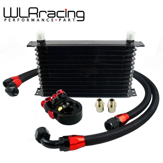 WLR- Universal 13 ROWS Trust type OIL COOLER +AN10 Oil Sandwich Plate Adapter with Thermostat+2PCS NYLON BRAIDED HOSE LINE BLACK vr universal 10 rows oil cooler engine an10 oil sandwich plate adapte with thermostat 2pcs nylon braided hose line black