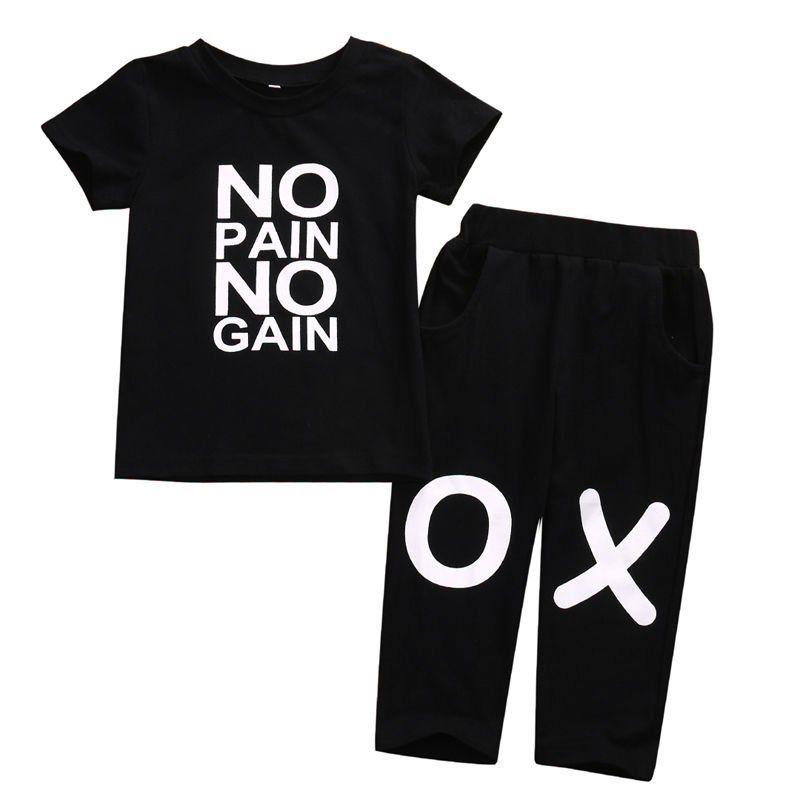 Toddler Kids Baby Boy Clothes Set Outfits Clothes No Pain No Gain Letter T Shirt Top Short Sleeve Pants 2 Pcs Boys Hip Hop Set