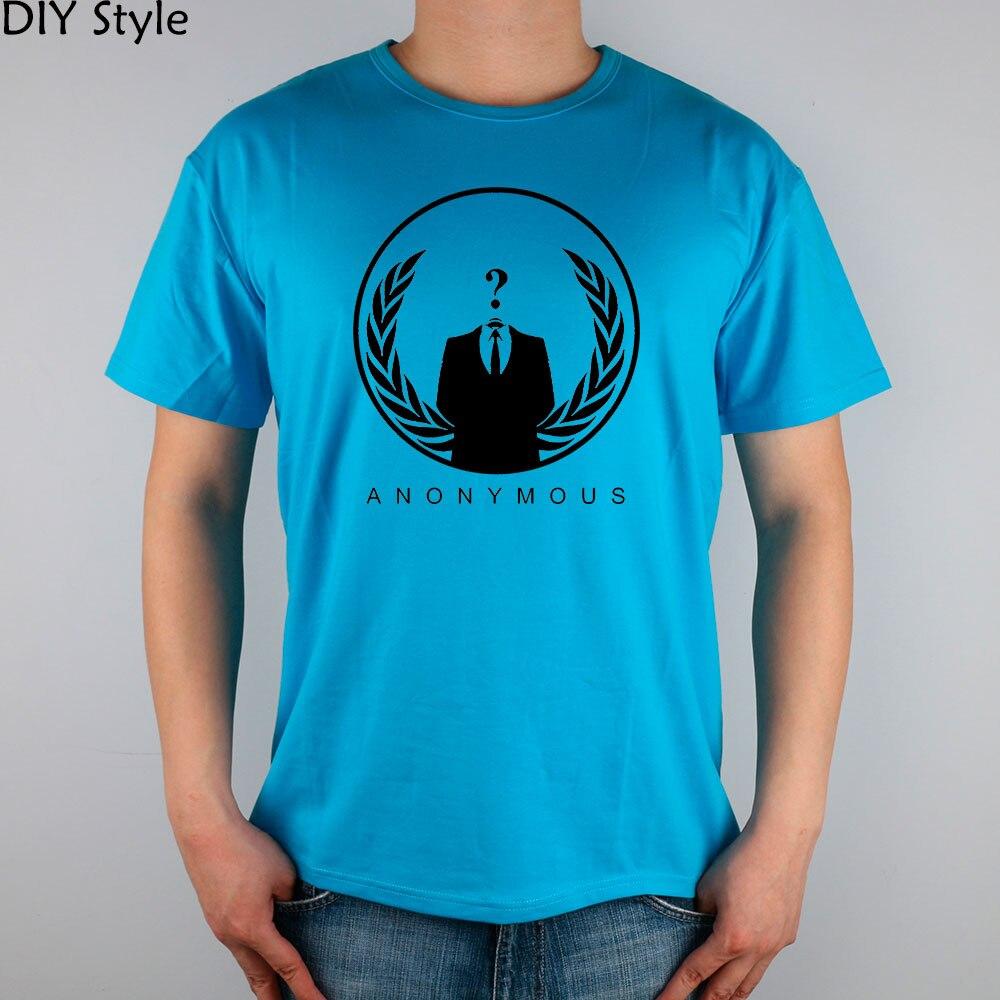 ANONYMOUS QUESTION MARK HACKER short sleeve T-shirt Top Lycra Cotton Men T shirt New DIY Style