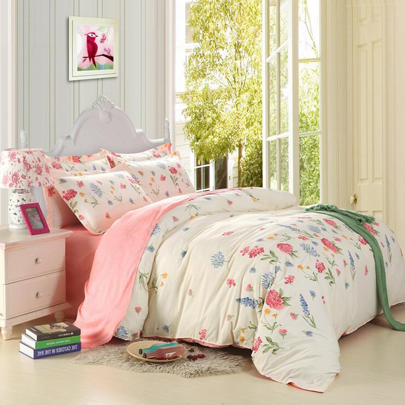 4pcs cotton cartoon printed bedding set vintage style bedclothes single double bed duvet cover cover bedsheet2 pillow casein bedding sets from home