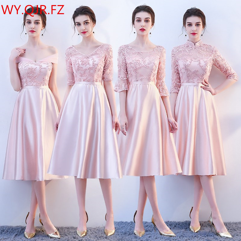 KBS025#Medium and long pink lace up   Bridesmaid     Dresses   wedding party prom   dress   2018 spring new wholesale cheap Bridal clothing