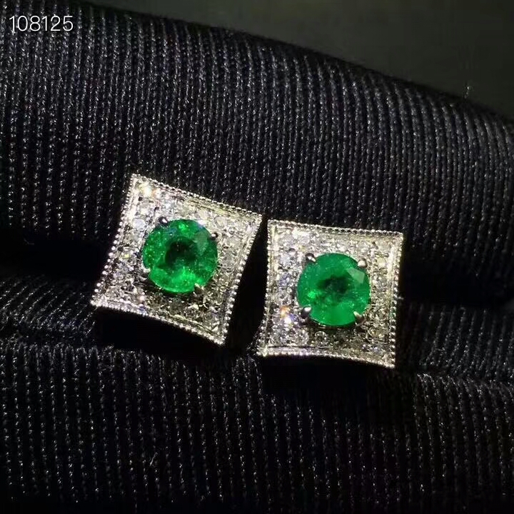 KJJEAXCMY fine jewelry 925 pure silver embedded natural emerald lady ear studs support test