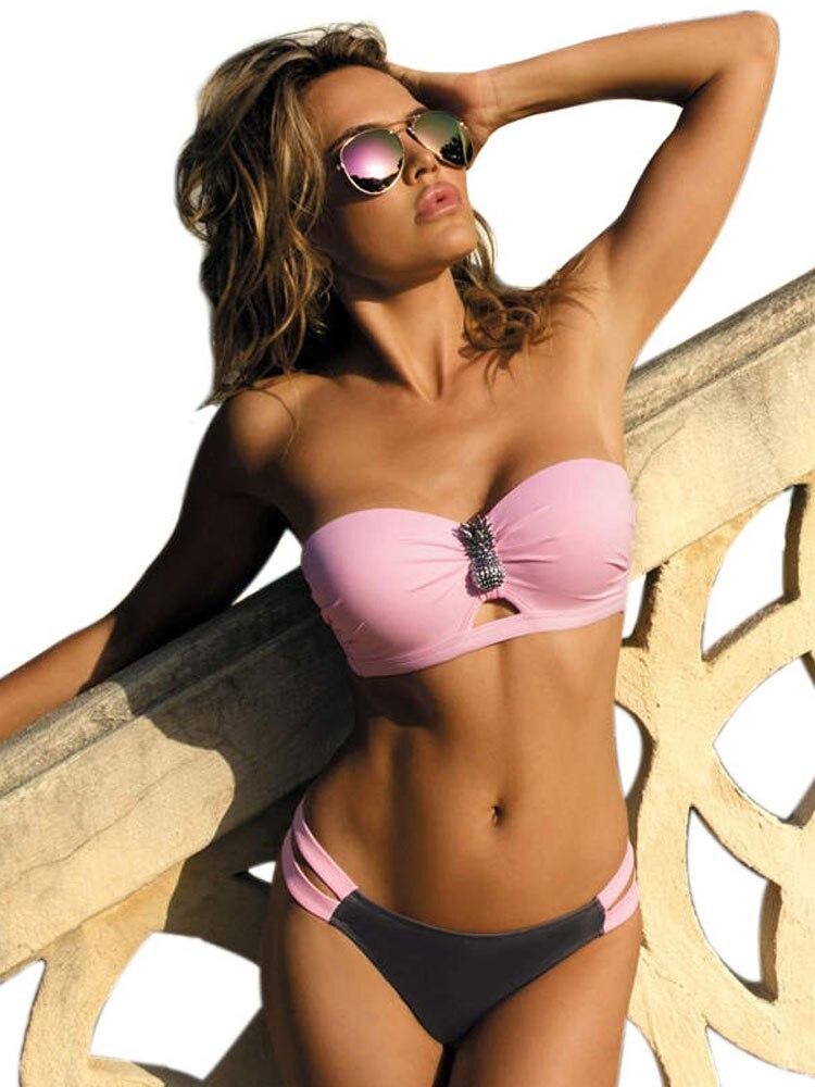 Pink Swimwear Bikini-Set Biquini Bandage Two-Piece Push-Up Plus-Size Beach Women Female