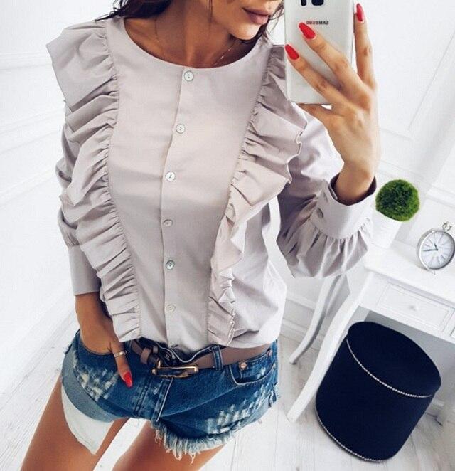 Women Summer New Fashion O-Neck Ruffles Long Sleeve elegant tops blue striped button blouse Casual Office work shirts 8
